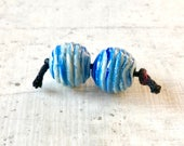 Lampwork glass bead pair,  Earring bead pair, ribbed marbled blue round, 10mm, Handmade lampwork glass beads, by GlassBeadArt, SRA F12