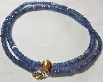 14K/22K Solid Yellow Gold Wire/Clasp/Jump Ring/Rondelle Bead/Faceted Bead,  Natural Burmese Blue Shappire Faceted Rondelle Beads Necklace