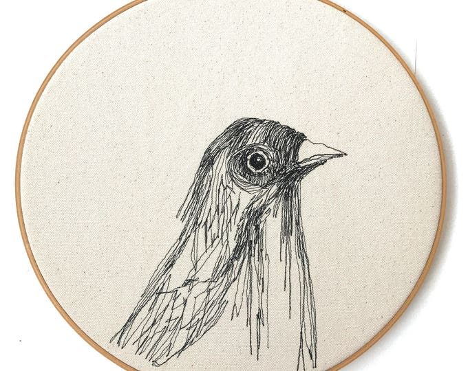 Featured listing image: Freehand Machine Embroidered Fish Crow Portrait