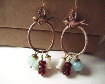 Garnet Earrings, Mother of Pearl, 14k Gold Fill, MOP Flower, Aqua Chalcedony, Genuine Garnet, Golden Brass, Brass Swallows, candies64