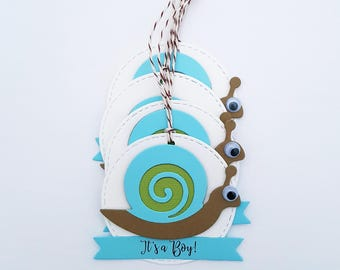 Cute Snail Baby Shower Favor Tags, Birthday Party Favor Tags, Choice of Text