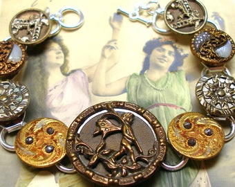 """Antique BUTTON gold bracelet, Victorian FAIRY with flowers on silver. 7.5"""" jewellery."""