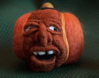 Michael Strahan Pumpkin, Halloween Pumpkin, Jack-O-Lantern, Medium Halloween Pumpkin, Humorous Felt Decoration, Wool, Worried JackoLantern