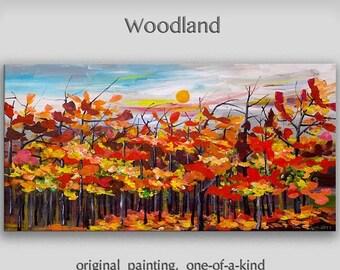 Sale Original large Oil Painting canvas art Blue sky Fiery autumn Landscape Sunrise by tim lam 48x24