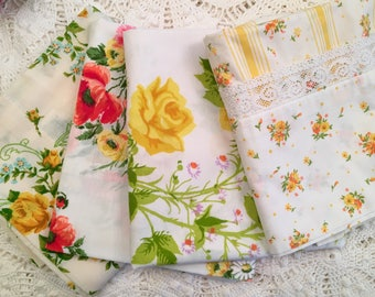 Vintage Pillowcases - Your Choice of 4 - Martex - Springmaid Marvelaire Wondercale - Statepride - Yellow Florals