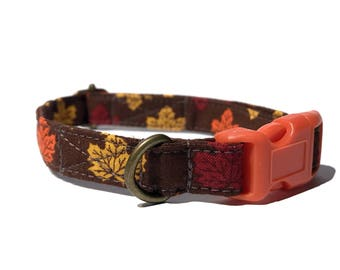 Falling Leaves  - Brown Autumn Fall Yellow Orange Red Organic Cotton CAT Collar Breakaway Safety - All Antique Brass Hardware
