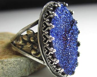 SUMMER SALE Blue Glitter Ring - Sterling Silver, Brass Flowers with Blue Titanium Druzy
