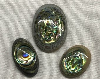 Three oval abalone/paua cabochons