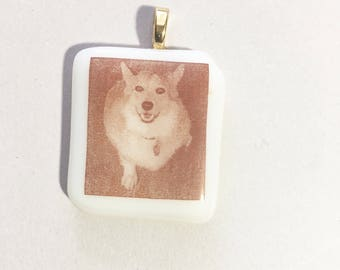 Personal Photo Permanently Fused In Fused Glass  Pendant or Magnet  Sepia Color