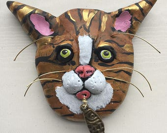 Valentines Day Gift - Tiger Cat Magnet -- Tabby Cat Art - Sculpted Cat Magnet -- Refrigerator Magnet - Clay Cat Magnet - Cat Lady Gift
