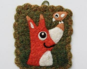 Tiny wall hanging felted moss green wool fiber art hand knit with needle fox birdie bird