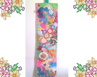 Large Textile Wallhanging. Upcycled Vintage Linens and Embroidery, highly embellished, kitsch and colorful Textile Art.