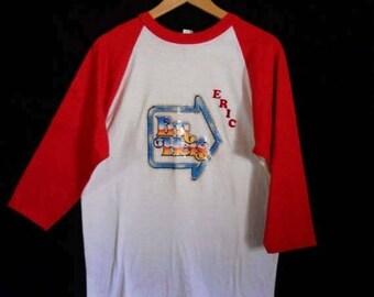 Closing shop SALE 40% off vintage baseball  tee t shirt    1970s      funny      ERIC
