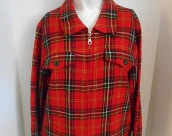 Closing Shop 40%off SALE Vintage 90's Plaid tartan wool jacket    red black white green  clothing clothes