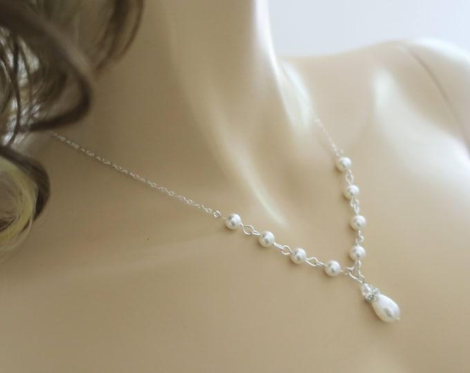 Swarovski Pearl Necklace Bridal Jewelry Set Crystal and Pearl Necklace Bridal Earrings Sterling Silver Wedding Jewelry Bridal Y Necklace