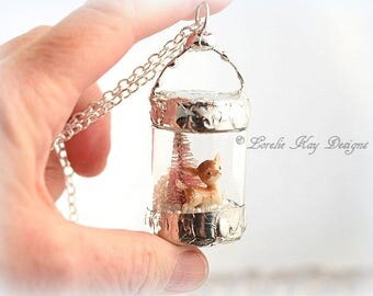 Christmas Deer Necklace Winter Holiday Christmas Necklace Soldered Bottle Mixed Media One-of-a-Kind Diorama Pendant