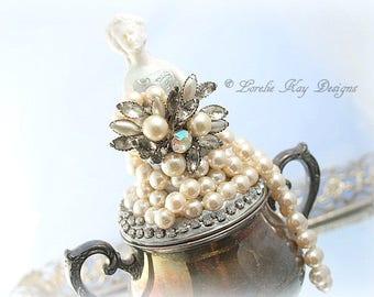 Art Doll Jewelry Box or Sugar Bowl Assemblage Art Antique Silver Plate Marie Style Romantic Decor Lorelie Kay Original