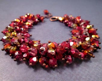 Copper Cha Cha Bracelet, Cranberry on the Vine, Wire Wrapped Glass Beaded Bracelet, FREE Shipping U.S.