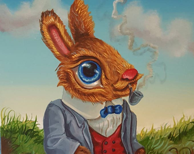 Big Eyed Rabbit - Original painting by Mr Hooper of Nashville Tennessee