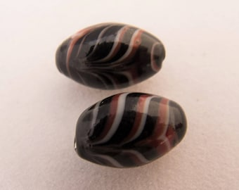 Vintage Venetian 1930s-40s Brick Red & White on Black Feather Lampwork Beads - Pair