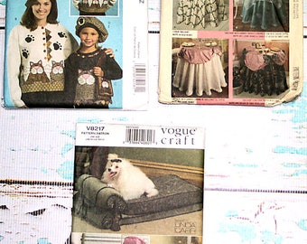 Sale Lot of 3 Sewing patterns McCall's 5018, McCall's 4725 table skirt, Vouge V8217 elegant Dog Beds