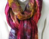 Custom order for Heidi Hand dyed linen scarf, hand dyed rayon silk square scarf and bamboo socks