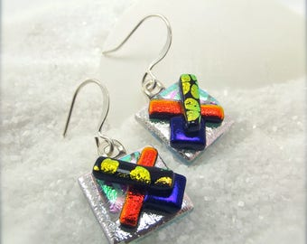 Modern dichroic glass earrings, dichroic fused glass jewelry, Silver earrings,fused jewelry, Jewellery handmade, Hana Sakura, Fusion glass