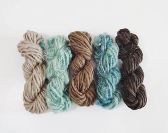 Desert Sage Handspun Art Yarn Pack 5 mini skeins teal green tan brown