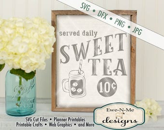 Sweet Tea SVG - Sweet Tea  served daily SVG - Diner Style Sweet Tea Cutting File - mason jar SVG - Commercial Use svg, dfx, png, jpg
