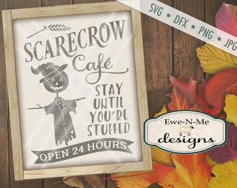 Fall SVG Cut File - Scarecrow SVG - Scarecrow Cafe Cut File - Autumn svg - Halloween svg - Commercial Use svg, dfx, png, jpg files
