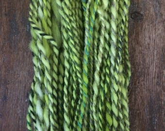The Caterpillar,  handspun art yarn, 63 yards, bulky two ply yarn, wool and mohair blend, bright green