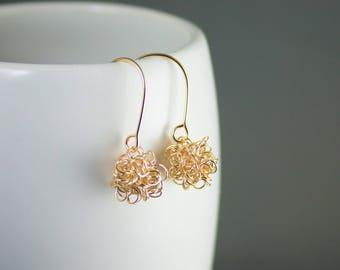 Dark Matter Earrings - Gold Filled Physics Jewelry - Science Earrings - Gift for Science Lover - Gold Ball Earrings