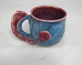 Blue and Red Cochlear Implant Mug - Wheelthrown and Handsculpted