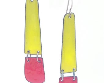 Enamel Long Hinged Earrings