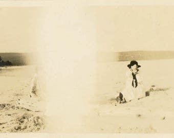 vintage photo Abstract No Faces Houghton Lake Beach Michigan women FACELESS