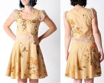 SALE Bird print cotton dress, Beige dress with lace, Short-sleeved womens dress, Square neckline, Womens clothing, MALAM dress, Size UK 10