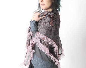 Grey and pink floral scarf with dotted ruffles, Womens scarf, Womens accessories, Fall fashion, MALAM, Gift for her