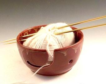 Yarn Bowl - Ceramic Skein Holder - Yarn Essential - Stoneware Crochet Helper - Knitter Gift - Ready to Ship - Brick Red with Creamy Rim v625