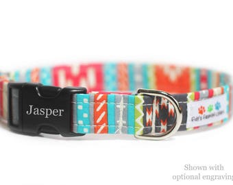 Personalized Aztec Dog Collar, Tribal, Navajo Dog Collar - Tabasco Tribal Engraved Collar (Shown with optional Engraving)