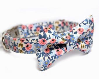 Les Fleurs Rosa Floral Periwinkle Dog Bowtie Collar - Rifle Paper Co.