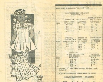 1960's little girls dress with or without puff sleeves sewing pattern