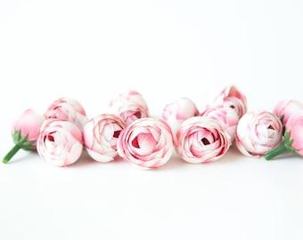 15 Mini Ranunculus in Two Tone Pink - silk artificial flower, millinery flower - ITEM 0346