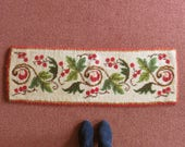 Small Vintage Rug, Boho Needlework Tapestry Table Runner, Rectangle Wool Shag Carpet, Tablecloth Table Cloth, Knotted Smyrna Rug. RESERVED