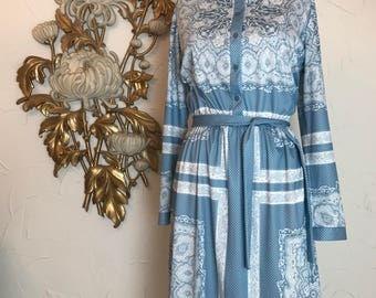 1960s dress blue and white dress button front dress tie belt dress long sleeve dress 40 bust border print dress size large