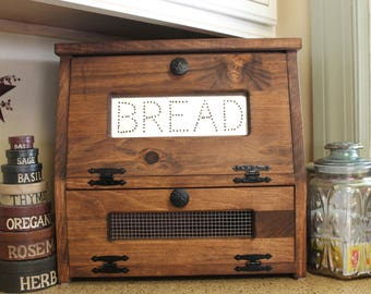 rustic bread box vegetable bin wooden punched tin storage primitive cupboard onion potatoes country kitchen handmade