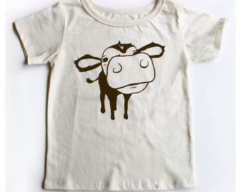 Kids Cow T-shirt 100% Organic Cotton Cow Screenprint