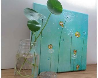 owl nursery decor, aqua nursery, dandelions wall art, whimsical print, new baby gift, gift for her, etsybaby, canvas art, 8 x 8, beilexian