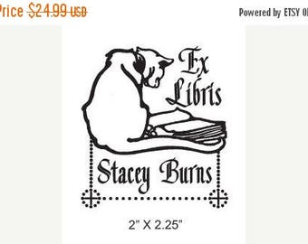 Xmas in July Cat Reading a Book Personalized Ex Libris Rubber Stamp H37