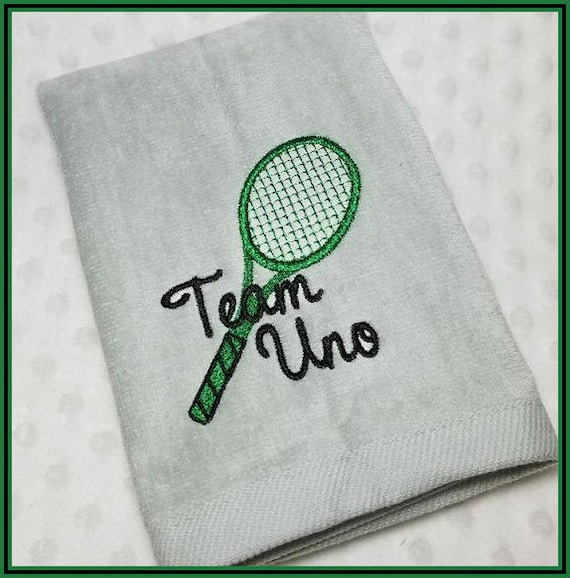 Sweat Towels Sign: Personalized Tennis Racket Sweat Towel With Racket Team Uno