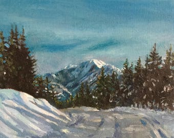 Mountain Road Winter,  small oil painting, 8 x 10""